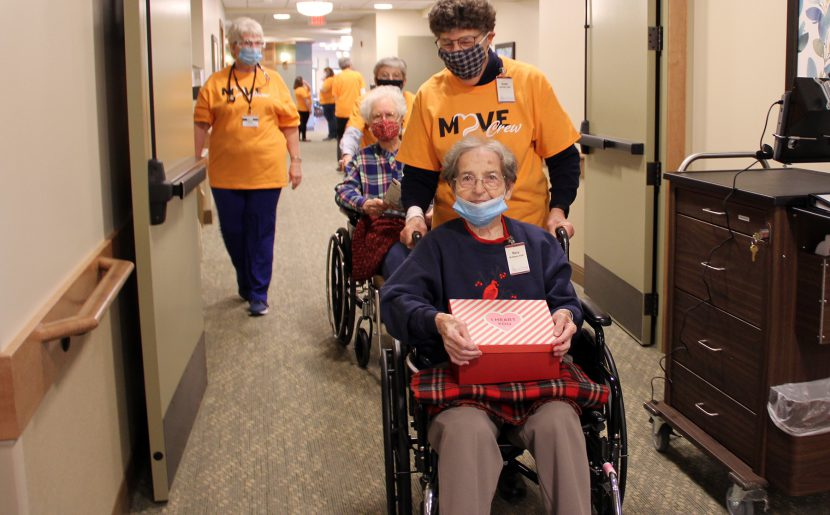 BVMs Mary McElmeel And Rosemary Surby Are Escorted To Their New Rooms At Mount Carmel Bluff.